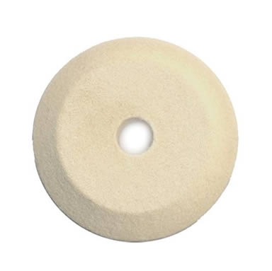 A piece of knife edge wool felt polishing wheel on the white background.