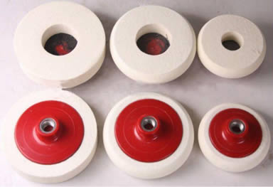 Six wool felt polishing wheels with three in the front side and three in the opposite side with red plastic back.