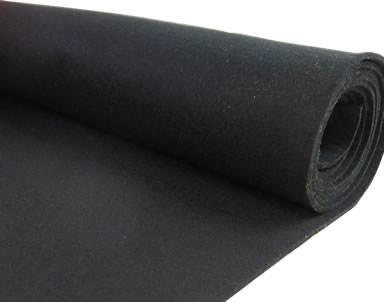 A roll of half-spread black pressed wool felt on the white background.