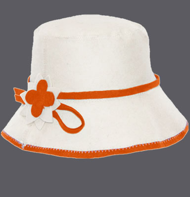 A natural white cloche hat with orange edge and flower design.