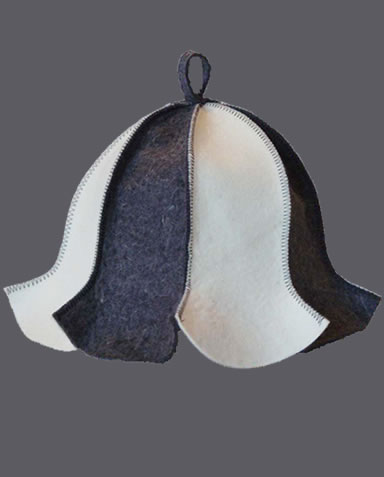 A natural white and dark gray splicing sauna hat on the white background.