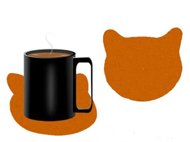 A cup of coffee on the orange cat shaped felt coaster and a detail of cat shaped felt coaster.