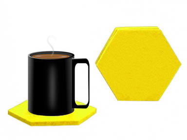 A cup of coffee on the yellow hexagonal felt coaster and a detail of hexagonal coaster.