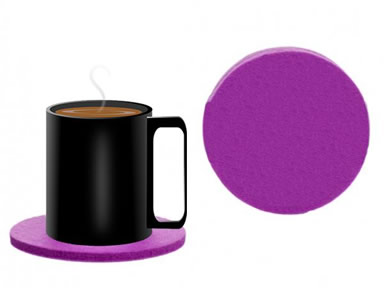 A cup of coffee on the round dark pink felt coaster and a detail of round coaster.
