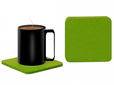 A cup of coffee on the green square felt coaster and a detail of square coaster.