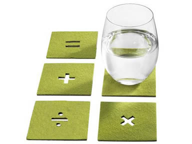 Five olive green wool felt coasters with symbols on them.