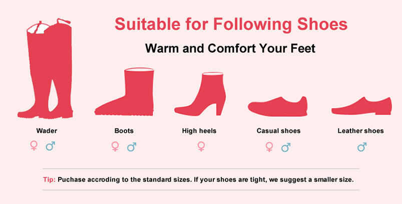 Five different types of shoes on the pink background with a tip under them.