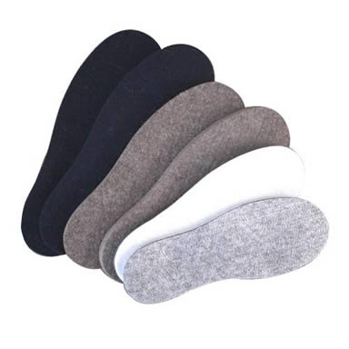 Six wool felt insoles with different colors on the white background.