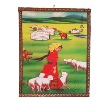 A wool felting painting with a women, several sheep, horse and ger design on it.