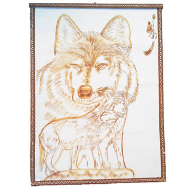 A natural white wool felt with three wolves painting on it.