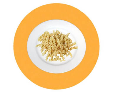 A plate of pasta on the yellow round wool felt placemat.