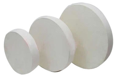 Three different sizes of wool felt polishing wheel pads on the white background.