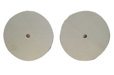 Two wool felt polishing wheels with pin hole in the center.