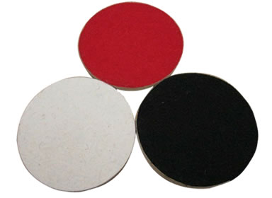 Three wool felt polishing wheels with one in front side and two in opposite side with red and black Velcro.