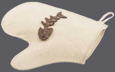 A natural white wool felt sauna glove with a fishbone applique on it.