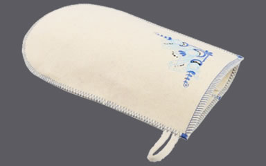 A natural white wool felt sauna glove with blue flower embroidery.